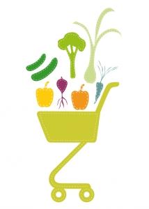 Obst und Gemüse einkaufen und Essen